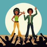 Couples des danseurs de disco illustration de vecteur