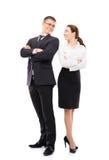 Couples des gens d'affaires d'isolement sur le blanc Photos stock
