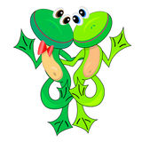 Couples des grenouilles mignonnes. illustration.isolated Images stock