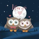 Couples des hiboux dans l'amour la nuit avec le message Photographie stock libre de droits