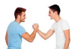 Couples des meilleurs amis se serrant la main Photographie stock libre de droits