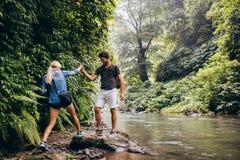 Couples des randonneurs dans la forêt Photographie stock libre de droits