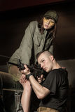 Couples des soldats avant bataille Image libre de droits
