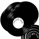 Couples des vinyles d'enregistrement de cru avec l'espace Illustration de Vecteur