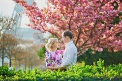 Couples devant Tour Eiffel une journée de printemps à Paris, France Photos stock