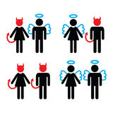 Couples devil and angel man and woman icons set Stock Image