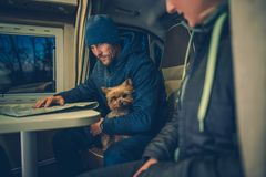 Couples with Dog RV Travel Stock Photos
