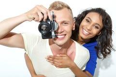 Couples doux d'isolement sur le blanc Photo stock
