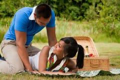 Couples doux de pique-nique images stock
