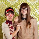 Couples drôles de ballot d'humeur sur le papier peint de cru Photo libre de droits