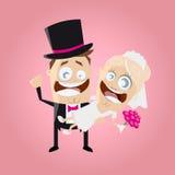 Couples drôles de mariage de bande dessinée Photographie stock libre de droits
