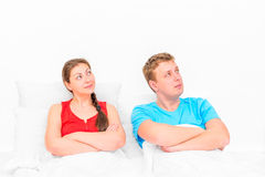 Couples dreaming in bed Stock Photo