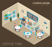 Couples drinking coffee in cafe in vector isometric royalty free illustration