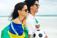 Couples du football de coupe du monde Photographie stock