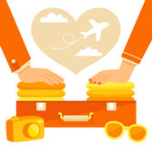 couples emballant une valise Images stock