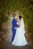 Couples embrassant leur jour du mariage images libres de droits