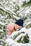 Couples embrassant parmi les sapins neigeux Photographie stock