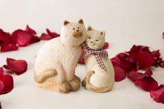 Couples en céramique de chats Photos libres de droits