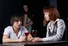 Couples en café Photo stock
