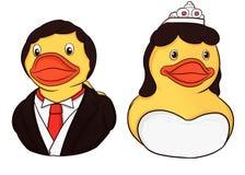 couples en caoutchouc de canard dans le costume image libre de droits