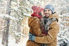 Couples en chutes de neige Images libres de droits