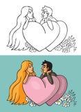 Couples en coeur et fleurs d'amour Photos libres de droits