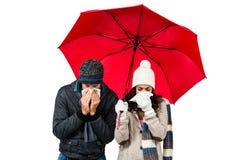 Couples en difficulté soufflant leurs nez Photos libres de droits