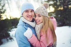 Couples en hiver Photos libres de droits