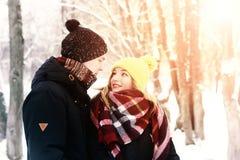 Couples en hiver de rue d'amour Image stock