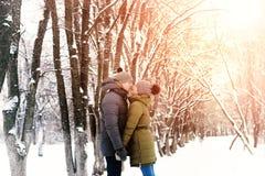 Couples en hiver extérieur d'amour Photographie stock libre de droits