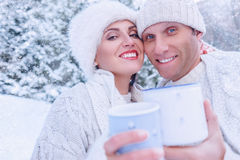 Couples en portrait d'amour dans la forêt de neige Image stock