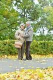 Couples en stationnement d'automne Photo stock