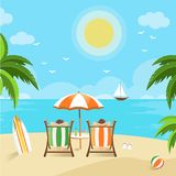 Couples enjoying the beach view vector illustration