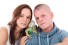 Couples et le dragon Images stock