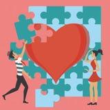 Couples et le puzzle de l'amour Image stock