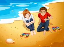Couples et plage illustration de vecteur