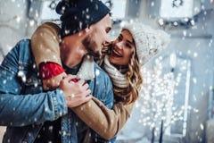 Couples extérieurs en hiver image libre de droits
