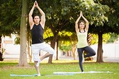 Couples faisant la pose de yoga d'arbre Image libre de droits