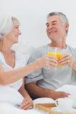 Couples faisant tinter leurs verres de jus d'orange Photos libres de droits