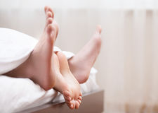 Couples feet in bed. Stock Images