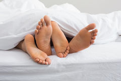 Couples feet sticking out from under duvet. At home in bedroom Royalty Free Stock Photos
