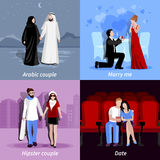 Couples 2x2 Flat Icons Set Royalty Free Stock Photo