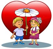 Couples with flower. Two young people celebrate Valentines Day Royalty Free Stock Photography