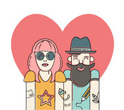 Couples frais de hippie dans l'amour Images stock
