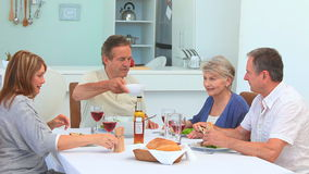 Couples of friends having a lunch together Stock Photo