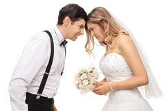 Couples furieux de nouveaux mariés poussant leurs têtes les uns contre les autres image libre de droits