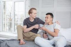 Couples gais gais affectueux démontrant le soin Photographie stock libre de droits