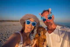 Couples gais, dans des lunettes de soleil drôles, avec un petit chien Image libre de droits