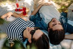 Couples gais sur le pique-nique au parc Images stock