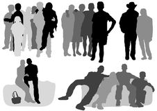 Couples and groups. Adults and children, standing and sitting Royalty Free Illustration
